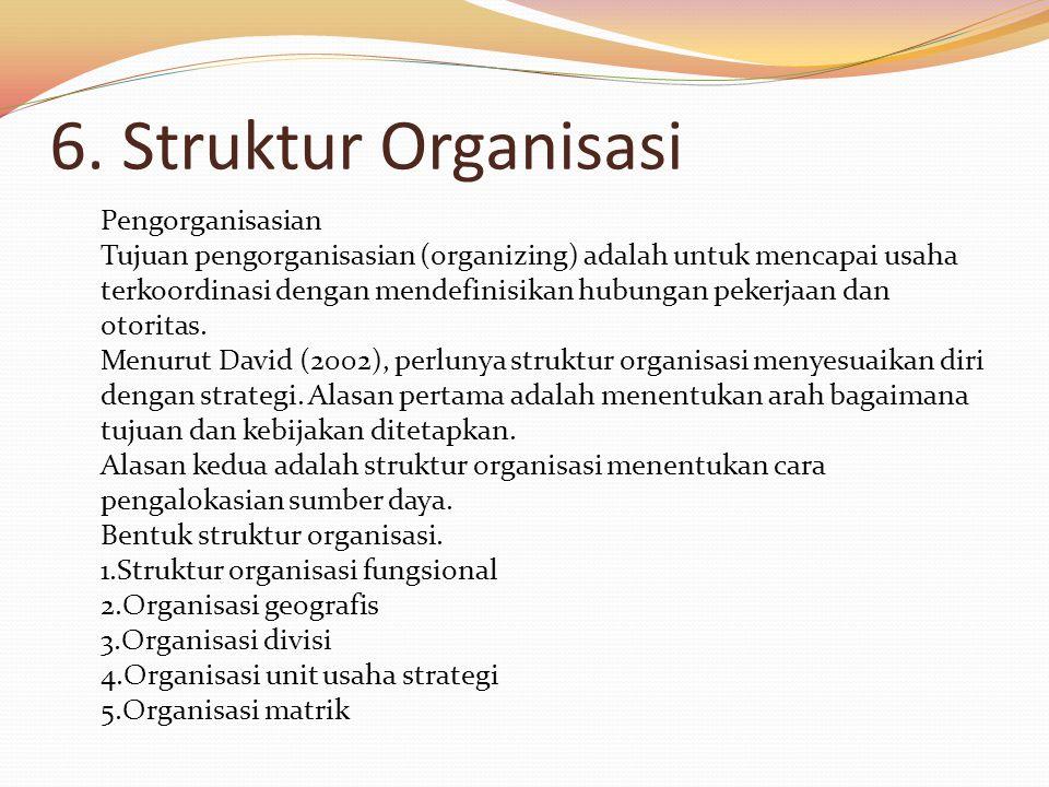6. Struktur Organisasi Pengorganisasian Tujuan pengorganisasian (organizing) adalah untuk mencapai usaha terkoordinasi dengan mendefinisikan hubungan