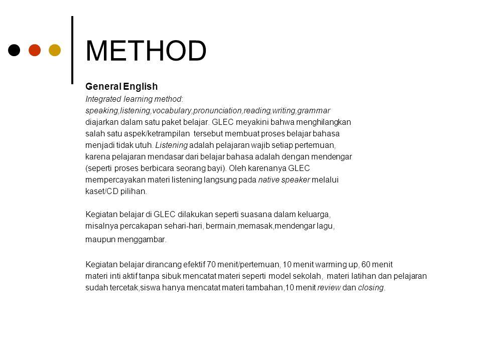 METHOD General English Integrated learning method: speaking,listening,vocabulary,pronunciation,reading,writing,grammar diajarkan dalam satu paket bela