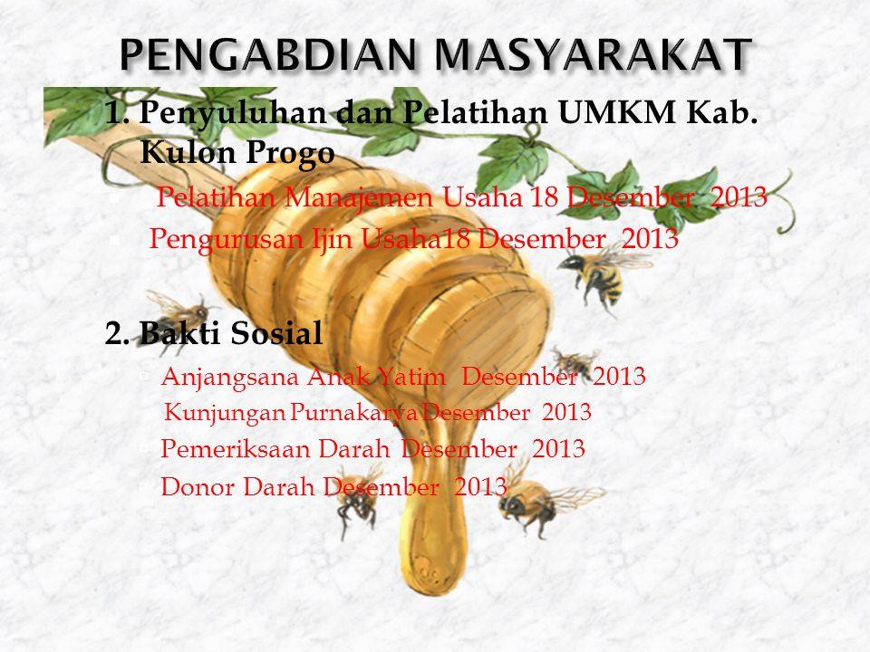 1. Penyuluhan dan Pelatihan UMKM Kab. Kulon Progo  Pelatihan Manajemen Usaha 18 Desember 2013  Pengurusan Ijin Usaha18 Desember 2013  2. Bakti Sosi