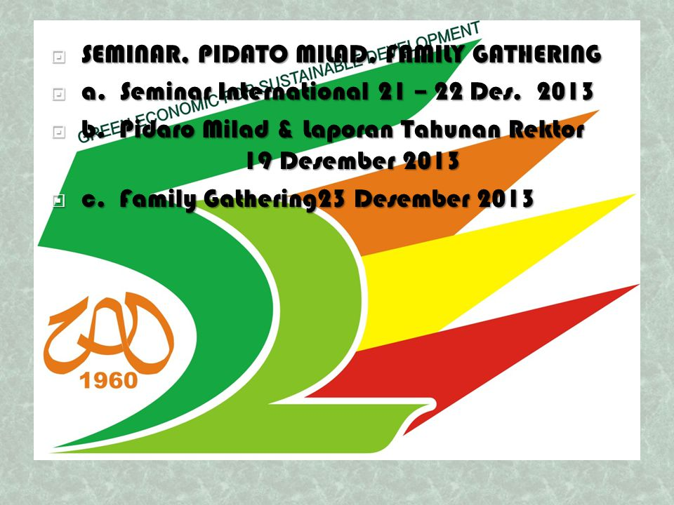  SEMINAR, PIDATO MILAD, FAMILY GATHERING  a. Seminar International21 – 22 Des.