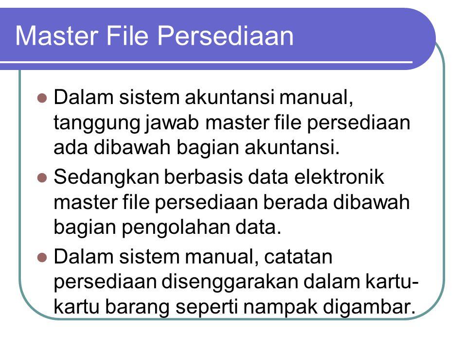 Master File Persediaan Dalam sistem akuntansi manual, tanggung jawab master file persediaan ada dibawah bagian akuntansi. Sedangkan berbasis data elek