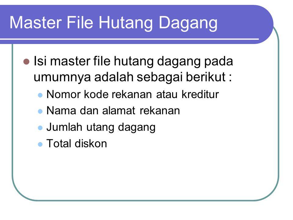 Master File Hutang Dagang Isi master file hutang dagang pada umumnya adalah sebagai berikut : Nomor kode rekanan atau kreditur Nama dan alamat rekanan