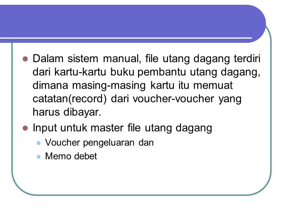 Dalam sistem manual, file utang dagang terdiri dari kartu-kartu buku pembantu utang dagang, dimana masing-masing kartu itu memuat catatan(record) dari