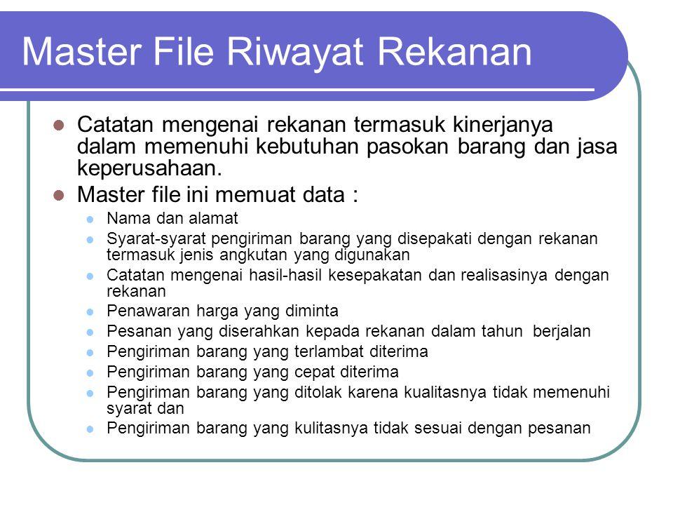 Master File Riwayat Rekanan Catatan mengenai rekanan termasuk kinerjanya dalam memenuhi kebutuhan pasokan barang dan jasa keperusahaan. Master file in
