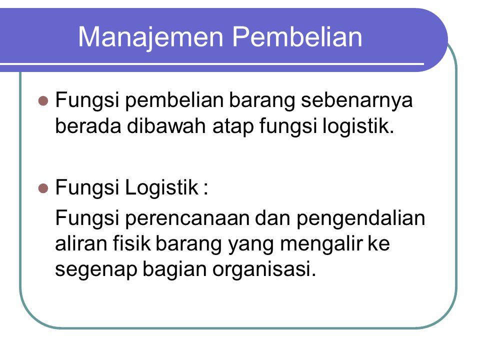 Manajemen Pembelian Fungsi pembelian barang sebenarnya berada dibawah atap fungsi logistik. Fungsi Logistik : Fungsi perencanaan dan pengendalian alir