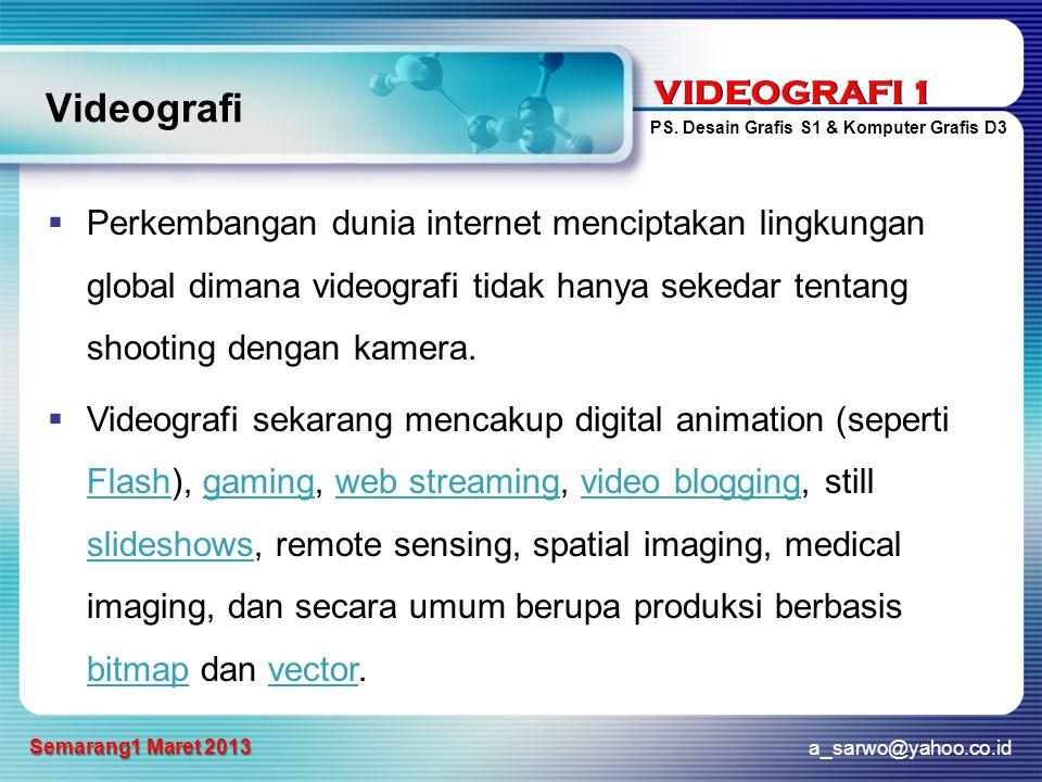 VIDEOGRAFI 1 PS. Desain Grafis S1 & Komputer Grafis D3 a_sarwo@yahoo.co.id Semarang1 Maret 2013 VIDEOGRAFI 1 Videografi  Perkembangan dunia internet