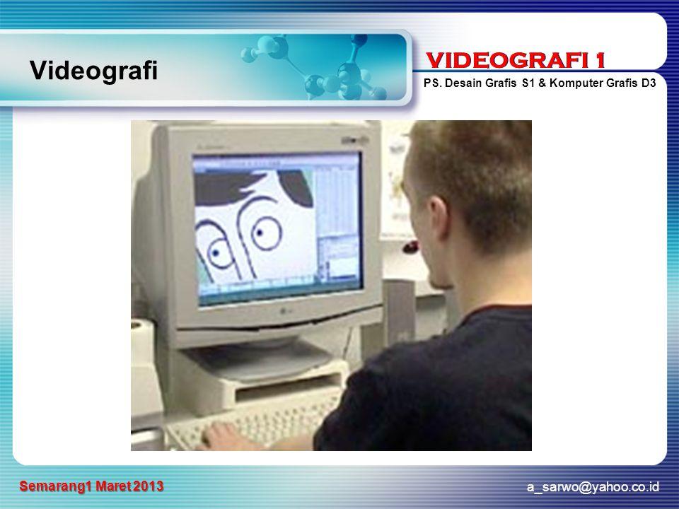 VIDEOGRAFI 1 PS. Desain Grafis S1 & Komputer Grafis D3 a_sarwo@yahoo.co.id Semarang1 Maret 2013 VIDEOGRAFI 1 Videografi