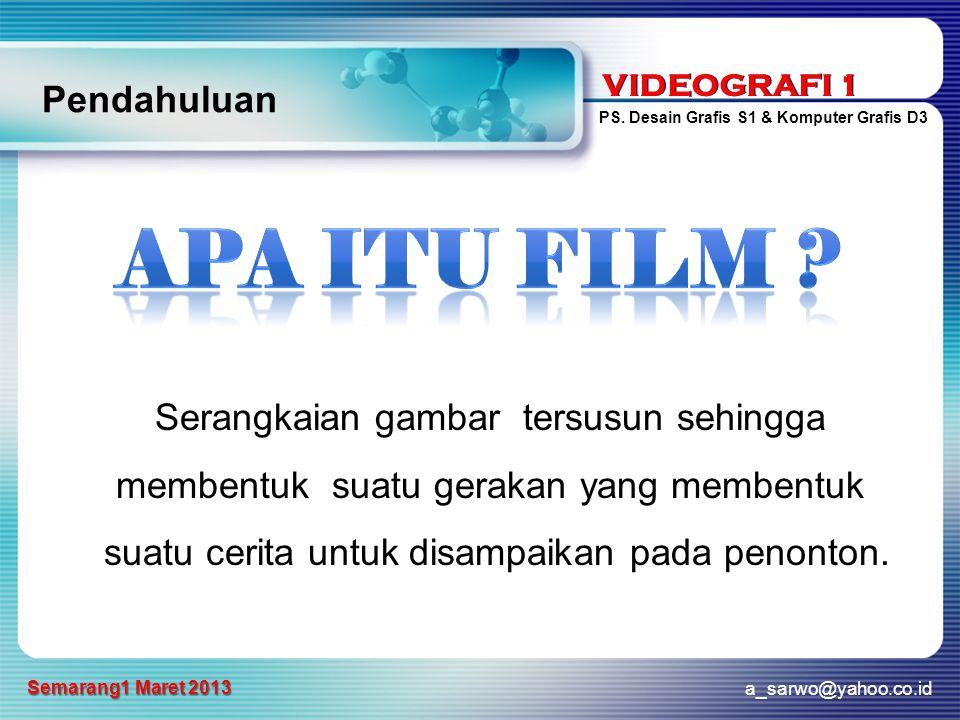 VIDEOGRAFI 1 PS. Desain Grafis S1 & Komputer Grafis D3 a_sarwo@yahoo.co.id Semarang1 Maret 2013 VIDEOGRAFI 1 Pendahuluan Serangkaian gambar tersusun s