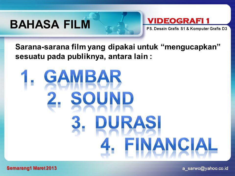 VIDEOGRAFI 1 PS. Desain Grafis S1 & Komputer Grafis D3 a_sarwo@yahoo.co.id Semarang1 Maret 2013 VIDEOGRAFI 1 BAHASA FILM Sarana-sarana film yang dipak