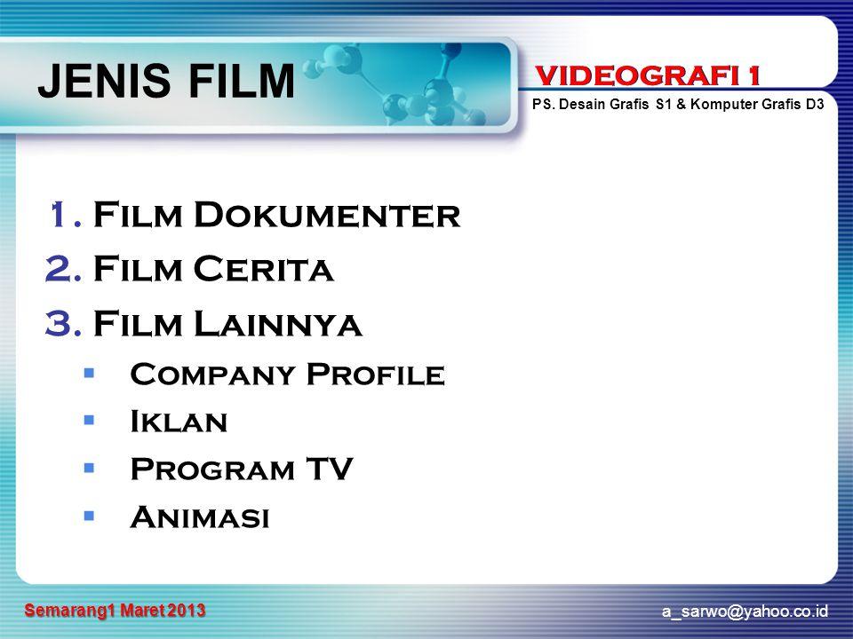 VIDEOGRAFI 1 PS. Desain Grafis S1 & Komputer Grafis D3 a_sarwo@yahoo.co.id Semarang1 Maret 2013 VIDEOGRAFI 1 JENIS FILM 1.Film Dokumenter 2.Film Cerit