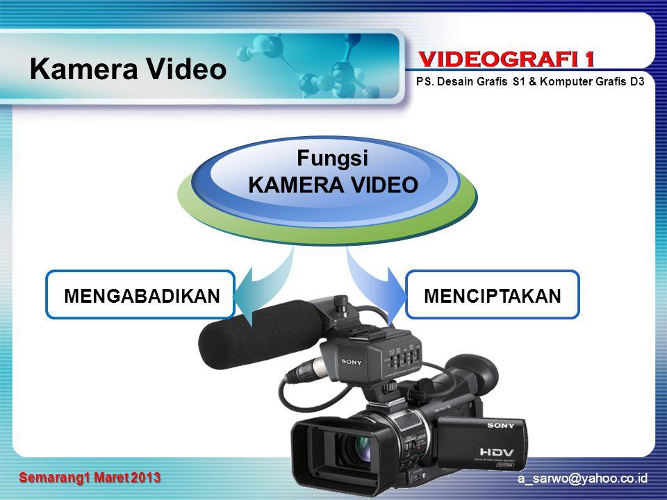 VIDEOGRAFI 1 PS. Desain Grafis S1 & Komputer Grafis D3 a_sarwo@yahoo.co.id Semarang1 Maret 2013 VIDEOGRAFI 1 Kamera Video MENGABADIKAN Fungsi KAMERA V