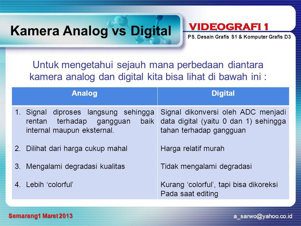 VIDEOGRAFI 1 PS. Desain Grafis S1 & Komputer Grafis D3 a_sarwo@yahoo.co.id Semarang1 Maret 2013 VIDEOGRAFI 1 Kamera Analog vs Digital Untuk mengetahui