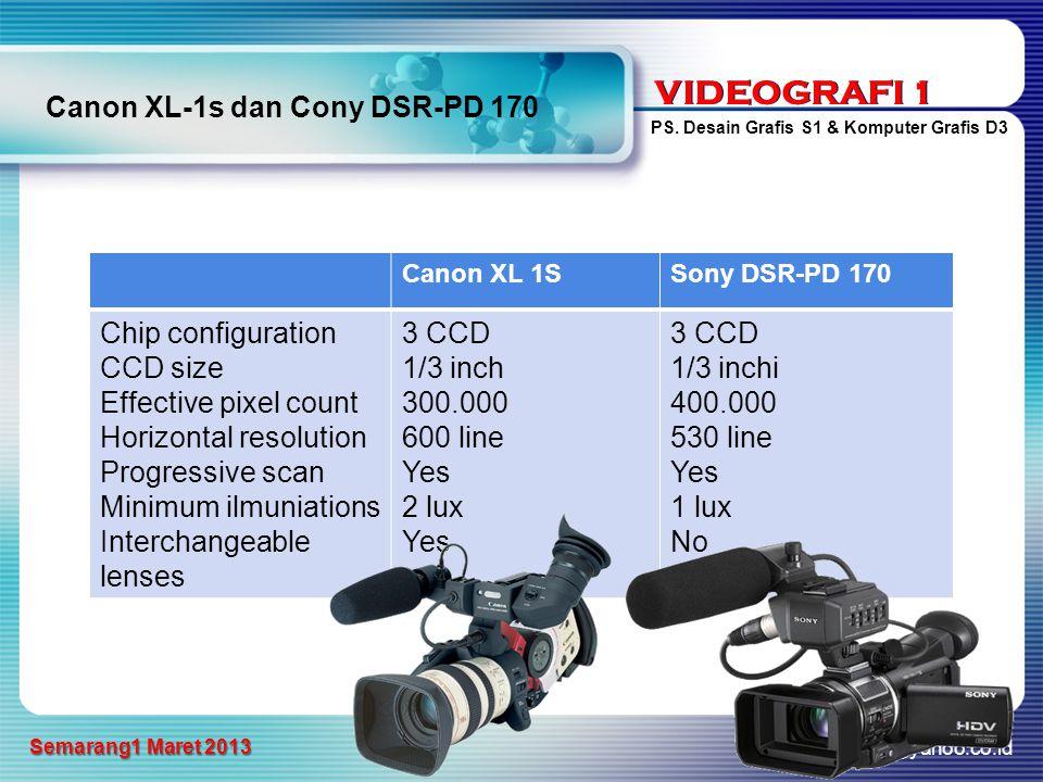VIDEOGRAFI 1 PS. Desain Grafis S1 & Komputer Grafis D3 a_sarwo@yahoo.co.id Semarang1 Maret 2013 VIDEOGRAFI 1 Canon XL-1s dan Cony DSR-PD 170 Canon XL