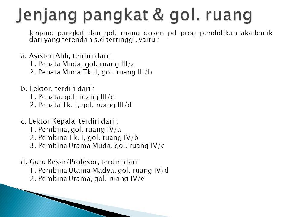 Jenjang pangkat dan gol. ruang dosen pd prog pendidikan akademik dari yang terendah s.d tertinggi, yaitu : a. Asisten Ahli, terdiri dari : 1. Penata M