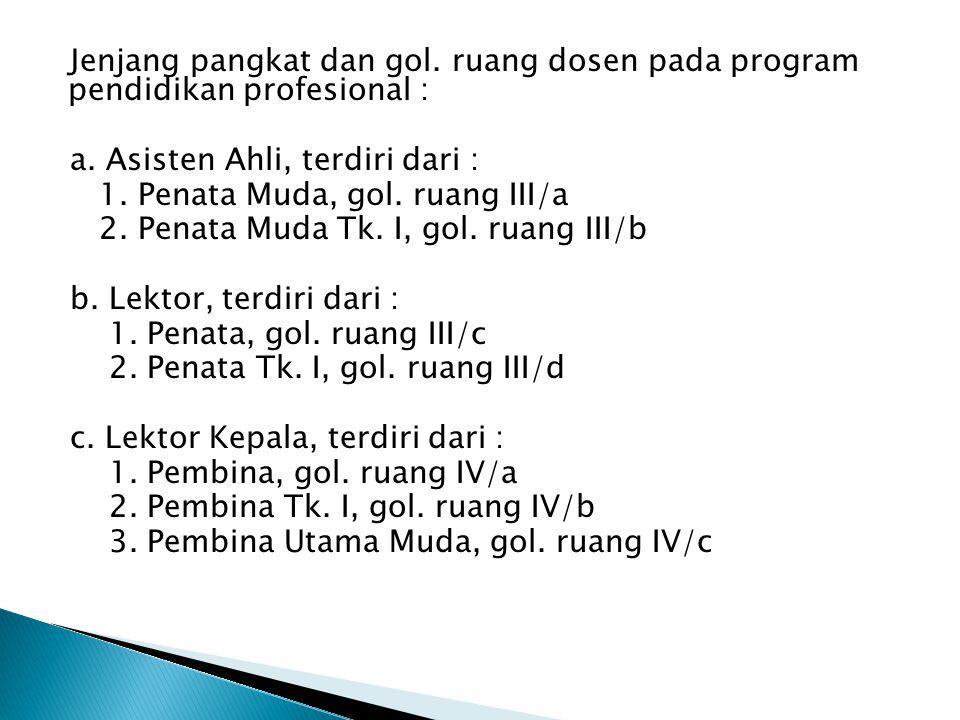 Jenjang pangkat dan gol. ruang dosen pada program pendidikan profesional : a. Asisten Ahli, terdiri dari : 1. Penata Muda, gol. ruang III/a 2. Penata