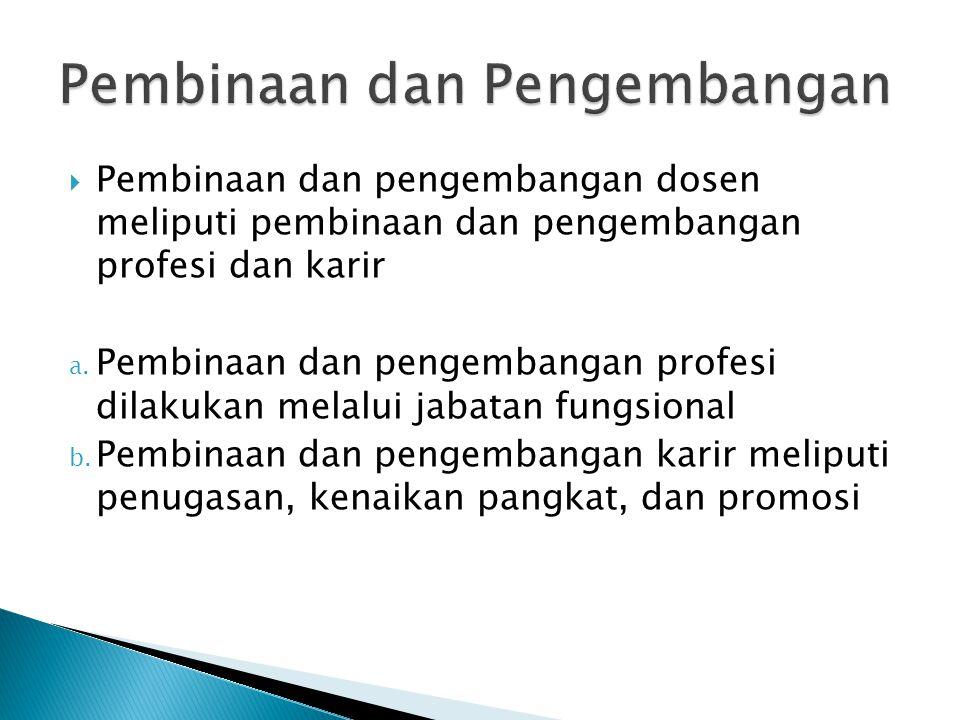  Pembinaan dan pengembangan dosen meliputi pembinaan dan pengembangan profesi dan karir a.