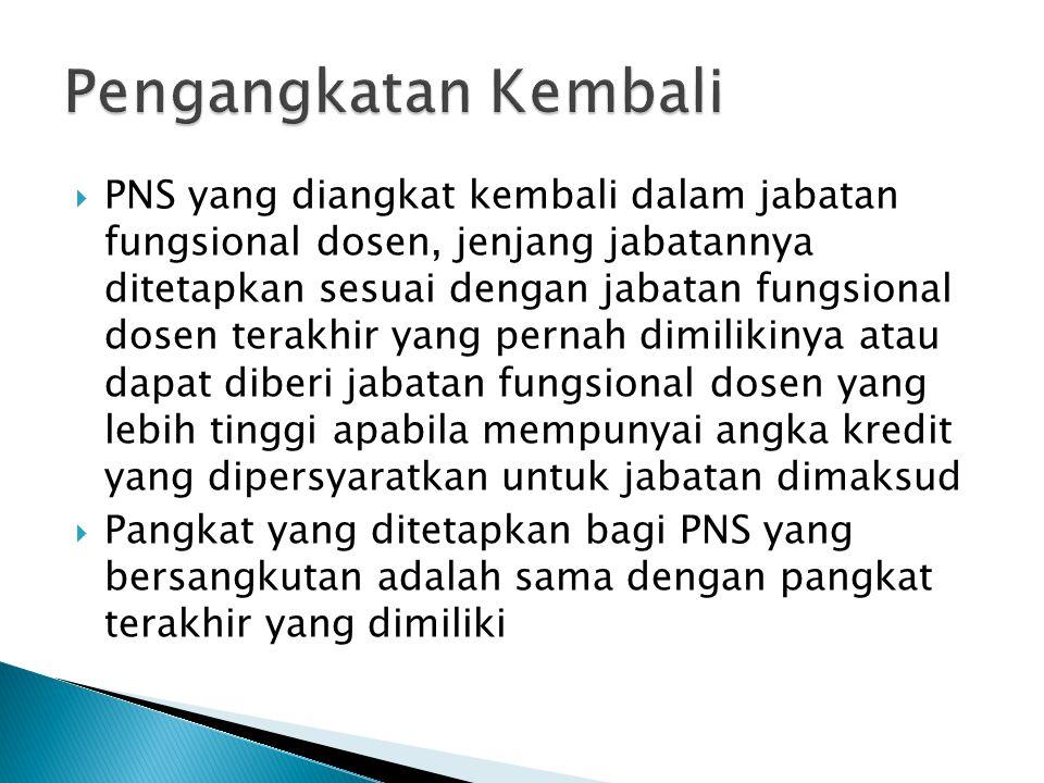  PNS yang diangkat kembali dalam jabatan fungsional dosen, jenjang jabatannya ditetapkan sesuai dengan jabatan fungsional dosen terakhir yang pernah dimilikinya atau dapat diberi jabatan fungsional dosen yang lebih tinggi apabila mempunyai angka kredit yang dipersyaratkan untuk jabatan dimaksud  Pangkat yang ditetapkan bagi PNS yang bersangkutan adalah sama dengan pangkat terakhir yang dimiliki