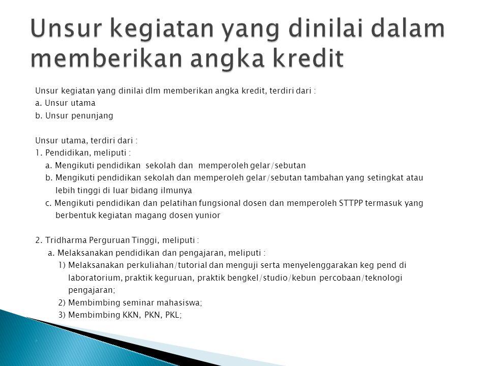Unsur kegiatan yang dinilai dlm memberikan angka kredit, terdiri dari : a. Unsur utama b. Unsur penunjang Unsur utama, terdiri dari : 1. Pendidikan, m