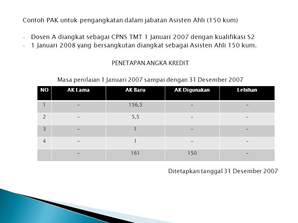 Contoh PAK untuk pengangkatan dalam jabatan Asisten Ahli (150 kum) - Dosen A diangkat sebagai CPNS TMT 1 Januari 2007 dengan kualifikasi S2 - 1 Januari 2008 yang bersangkutan diangkat sebagai Asisten Ahli 150 kum.