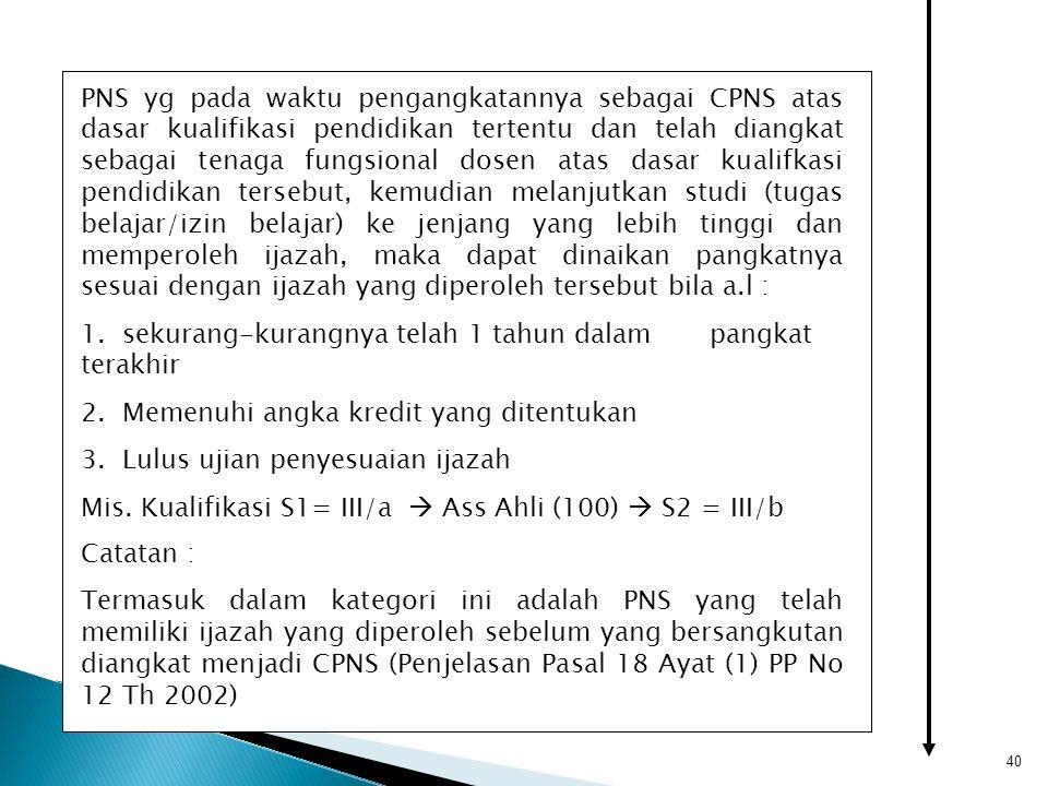 40 PNS yg pada waktu pengangkatannya sebagai CPNS atas dasar kualifikasi pendidikan tertentu dan telah diangkat sebagai tenaga fungsional dosen atas d