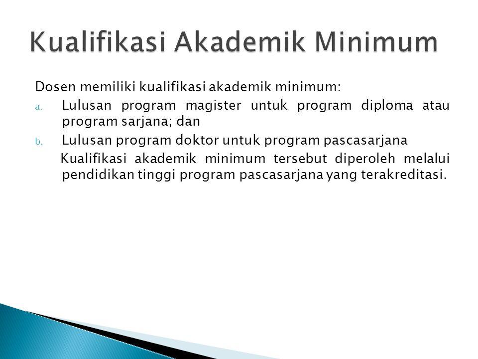 Dosen memiliki kualifikasi akademik minimum: a. Lulusan program magister untuk program diploma atau program sarjana; dan b. Lulusan program doktor unt