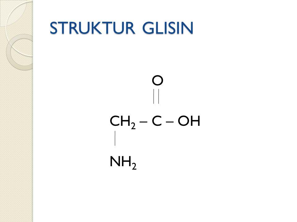 STRUKTUR GLISIN O CH 2 – C – OH NH 2