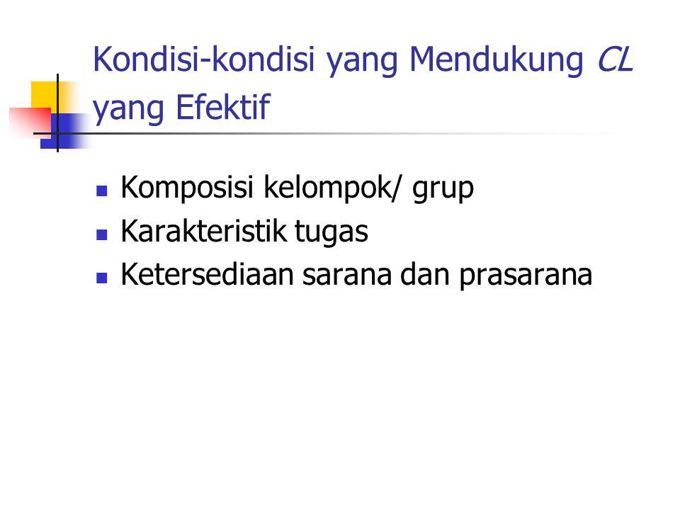 Pembagian Kelompok dlm CL Heterogenitas (kemampuan akademis, minat, jenis kelamin, angkatan, ??) Banyaknya anggota kelompok (4-6 orang) Terlalu sedikit —› Terlalu banyak —›