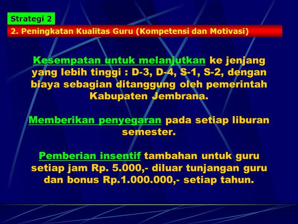 PROGRAM PENINGKATAN KUALITAS PENDIDIKAN 1. Membuka Akses Yang Seluas-Luasnya bagi Masyarakat Strategi 1 -Bebas biaya sekolah untuk sekolah negeri. (Ke