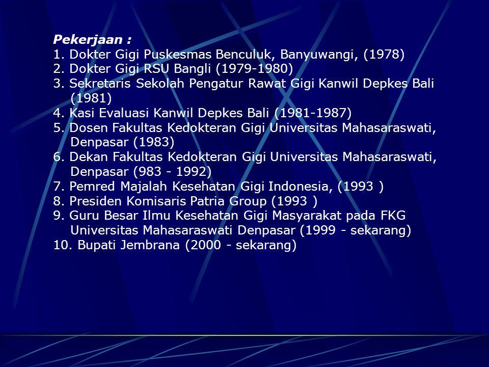 B I O D A T A Nama : Prof. Dr. drg. I Gede Winasa Tempat dan Tanggal Lahir : Denpasar, 9 Maret 1950 Pendidikan : 1. SDN 1 Tegalcangkring, Jembrana (19