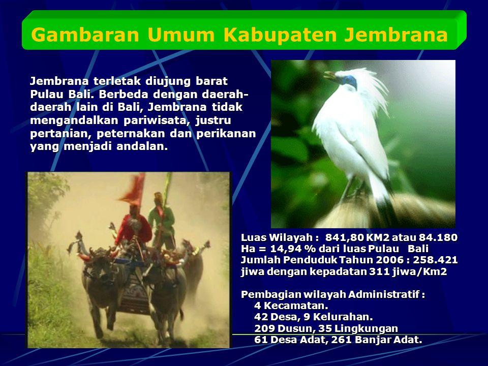 Gambaran Umum Kabupaten Jembrana Jembrana terletak diujung barat Pulau Bali.