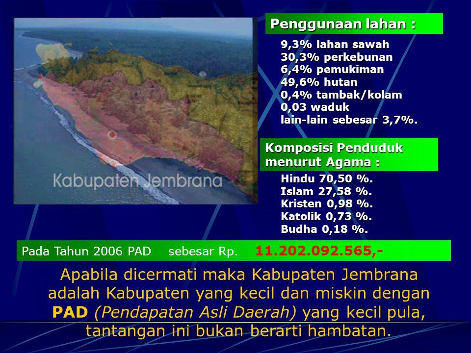 Gambaran Umum Kabupaten Jembrana Jembrana terletak diujung barat Pulau Bali. Berbeda dengan daerah- daerah lain di Bali, Jembrana tidak mengandalkan p