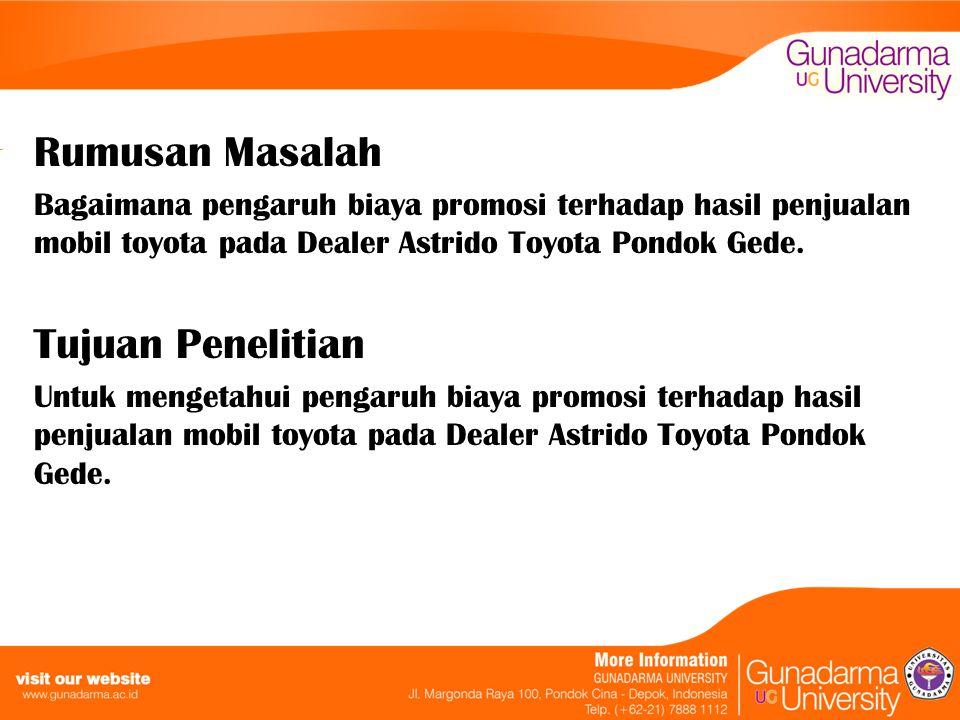 Rumusan Masalah Bagaimana pengaruh biaya promosi terhadap hasil penjualan mobil toyota pada Dealer Astrido Toyota Pondok Gede. Tujuan Penelitian Untuk