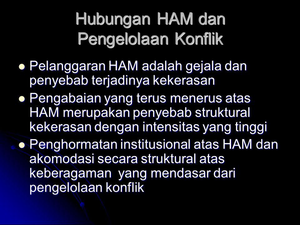 Hubungan HAM dan Pengelolaan Konflik Pelanggaran HAM adalah gejala dan penyebab terjadinya kekerasan Pelanggaran HAM adalah gejala dan penyebab terjadinya kekerasan Pengabaian yang terus menerus atas HAM merupakan penyebab struktural kekerasan dengan intensitas yang tinggi Pengabaian yang terus menerus atas HAM merupakan penyebab struktural kekerasan dengan intensitas yang tinggi Penghormatan institusional atas HAM dan akomodasi secara struktural atas keberagaman yang mendasar dari pengelolaan konflik Penghormatan institusional atas HAM dan akomodasi secara struktural atas keberagaman yang mendasar dari pengelolaan konflik