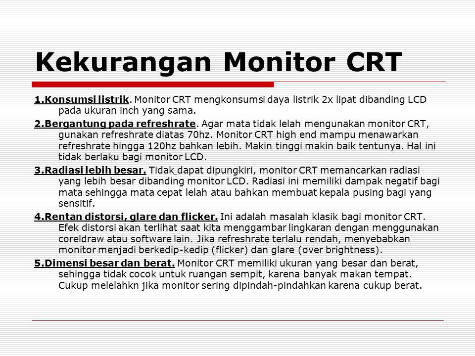 Kekurangan Monitor CRT 1.Konsumsi listrik. Monitor CRT mengkonsumsi daya listrik 2x lipat dibanding LCD pada ukuran inch yang sama. 2.Bergantung pada