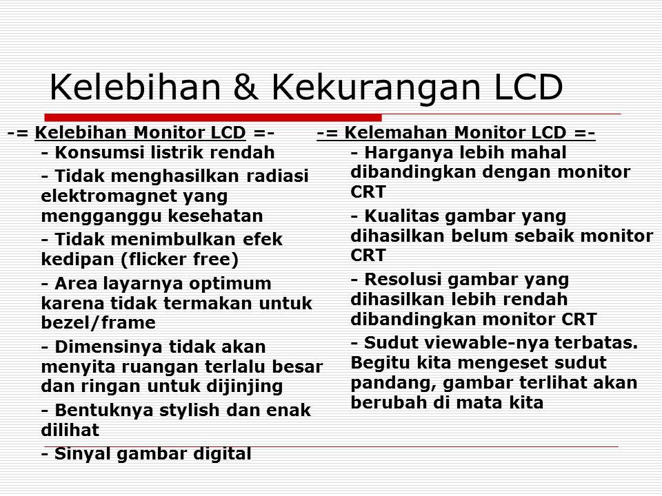 Kelebihan & Kekurangan LCD -= Kelebihan Monitor LCD =- - Konsumsi listrik rendah - Tidak menghasilkan radiasi elektromagnet yang mengganggu kesehatan