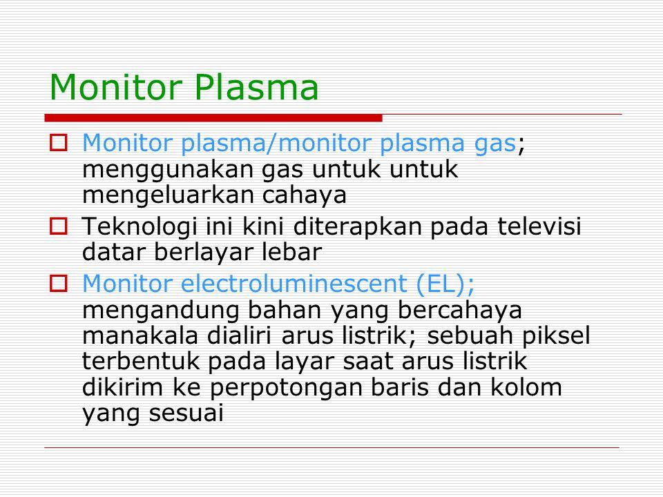 Monitor Plasma  Monitor plasma/monitor plasma gas; menggunakan gas untuk untuk mengeluarkan cahaya  Teknologi ini kini diterapkan pada televisi data