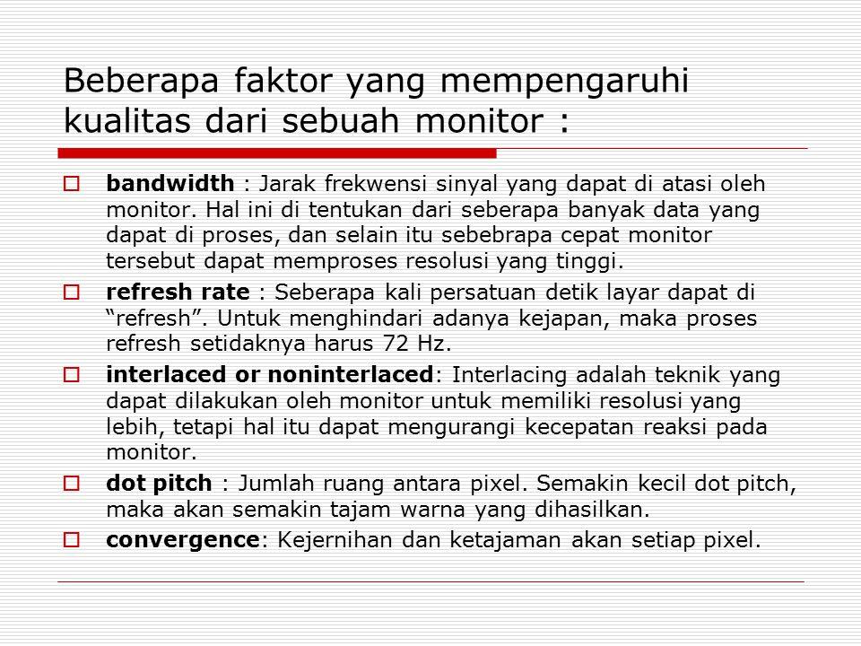 Beberapa faktor yang mempengaruhi kualitas dari sebuah monitor :  bandwidth : Jarak frekwensi sinyal yang dapat di atasi oleh monitor. Hal ini di ten