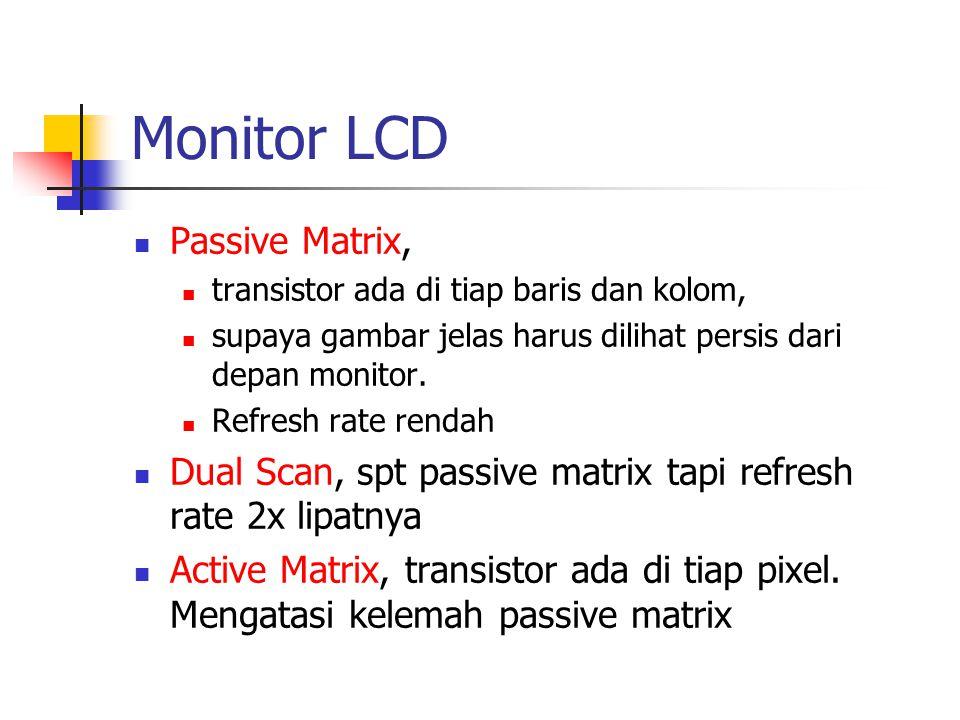 Monitor LCD Passive Matrix, transistor ada di tiap baris dan kolom, supaya gambar jelas harus dilihat persis dari depan monitor. Refresh rate rendah D