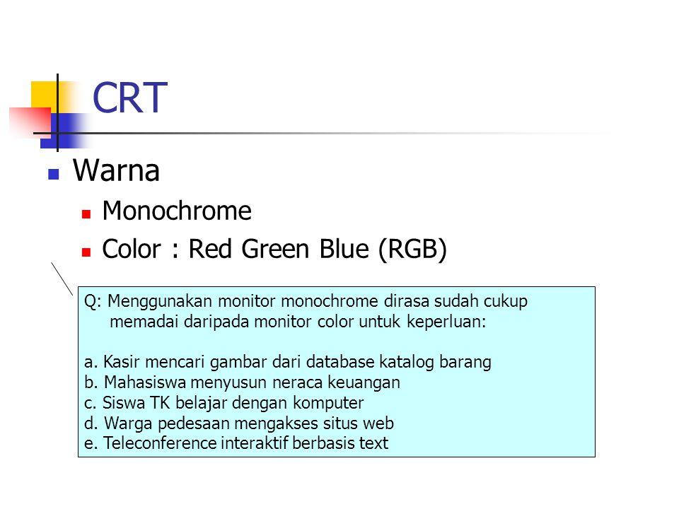 CRT Warna Monochrome Color : Red Green Blue (RGB) Q: Menggunakan monitor monochrome dirasa sudah cukup memadai daripada monitor color untuk keperluan: