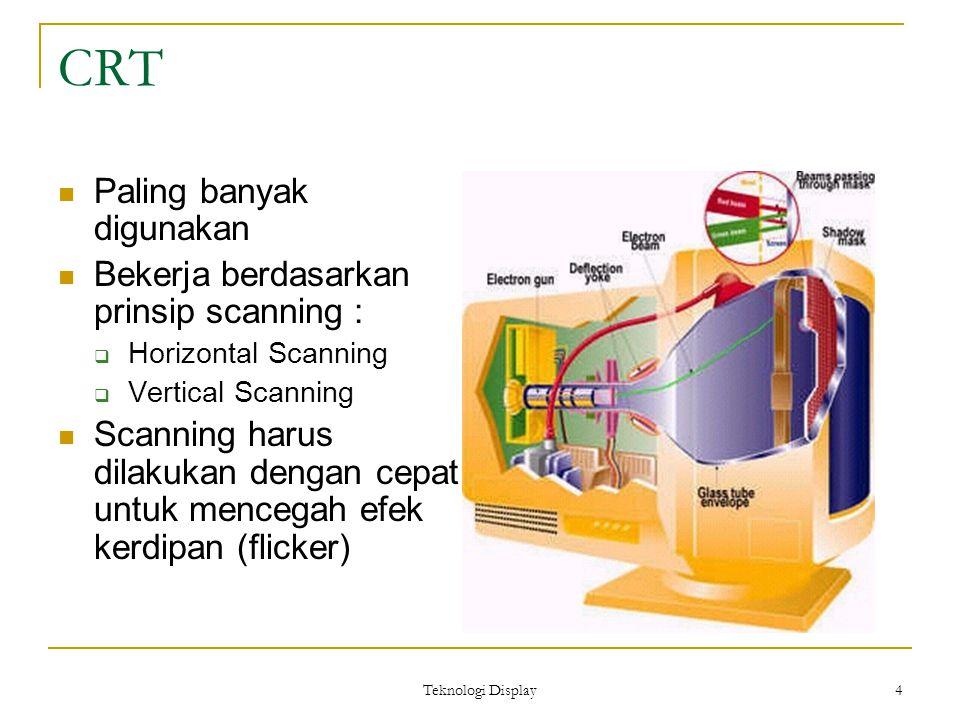 Teknologi Display 4 CRT Paling banyak digunakan Bekerja berdasarkan prinsip scanning :  Horizontal Scanning  Vertical Scanning Scanning harus dilakukan dengan cepat untuk mencegah efek kerdipan (flicker)