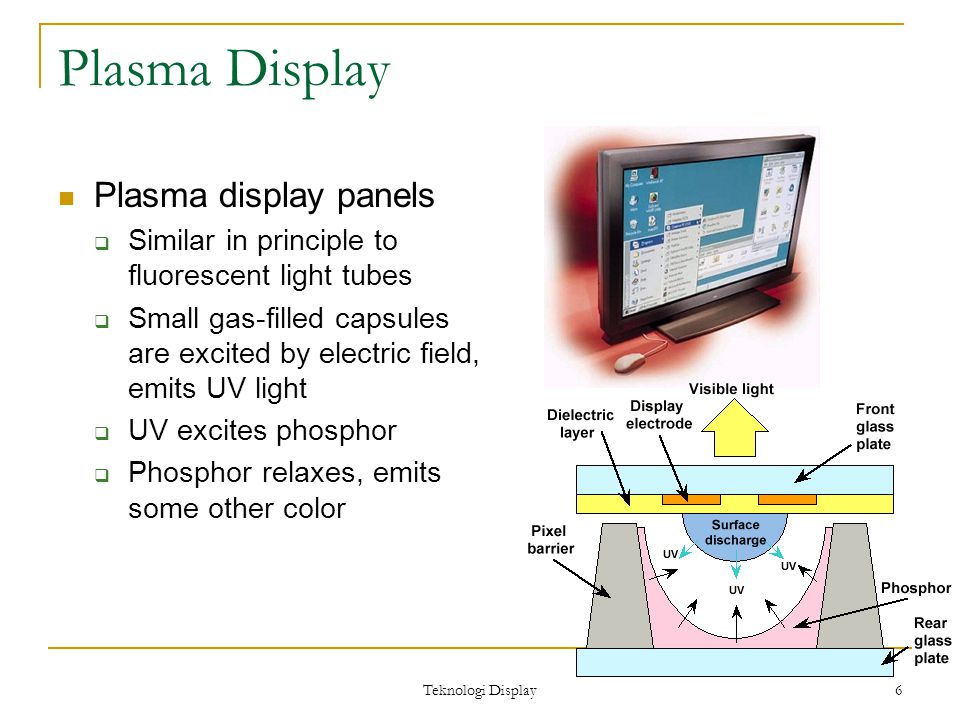 Teknologi Display 6 Plasma Display Plasma display panels  Similar in principle to fluorescent light tubes  Small gas-filled capsules are excited by