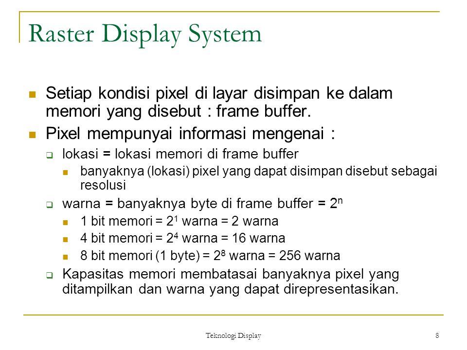 Teknologi Display 8 Raster Display System Setiap kondisi pixel di layar disimpan ke dalam memori yang disebut : frame buffer.