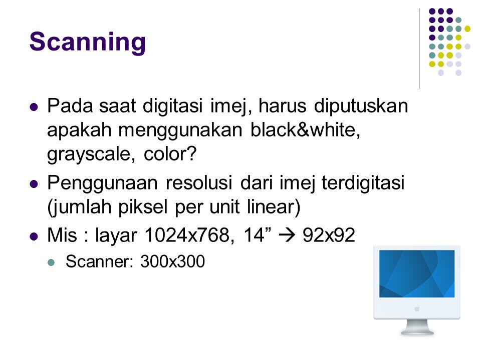 Scanning Pada saat digitasi imej, harus diputuskan apakah menggunakan black&white, grayscale, color? Penggunaan resolusi dari imej terdigitasi (jumlah