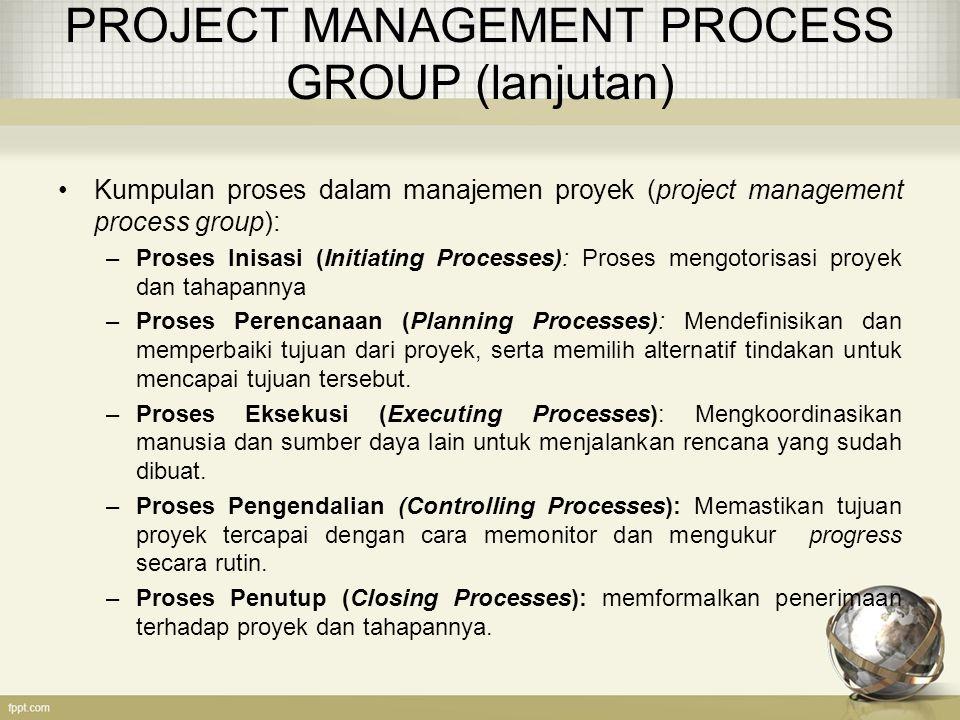 PROJECT MANAGEMENT PROCESS GROUP (lanjutan) Kumpulan proses dalam manajemen proyek (project management process group): –Proses Inisasi (Initiating Pro