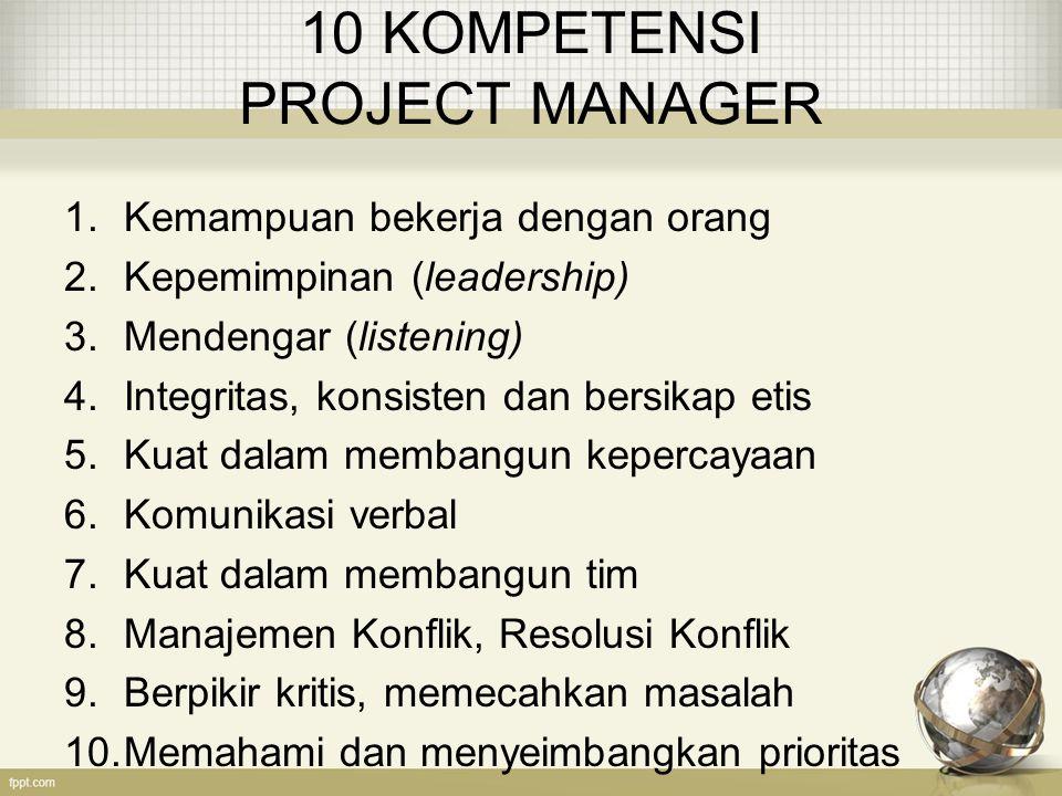 10 KOMPETENSI PROJECT MANAGER 1.Kemampuan bekerja dengan orang 2.Kepemimpinan (leadership) 3.Mendengar (listening) 4.Integritas, konsisten dan bersika