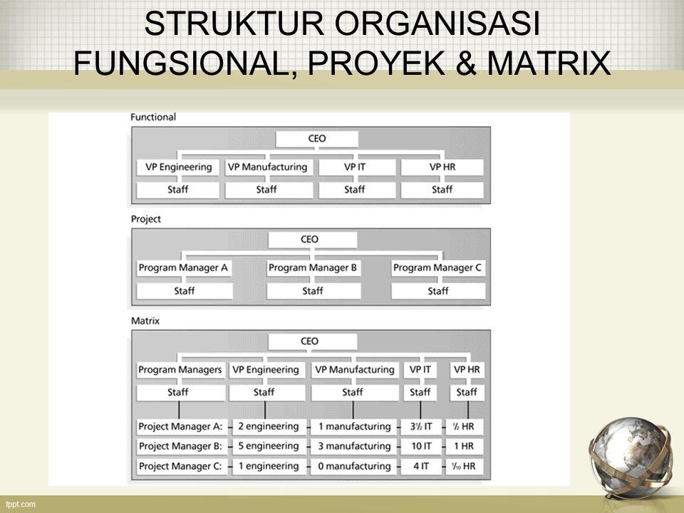 STRUKTUR ORGANISASI FUNGSIONAL, PROYEK & MATRIX