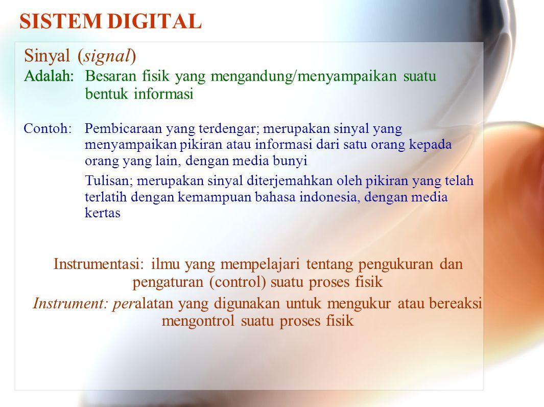 SISTEM DIGITAL Sinyal (signal) Adalah:Besaran fisik yang mengandung/menyampaikan suatu bentuk informasi Pembicaraan yang terdengar; merupakan sinyal yang menyampaikan pikiran atau informasi dari satu orang kepada orang yang lain, dengan media bunyi Tulisan; merupakan sinyal diterjemahkan oleh pikiran yang telah terlatih dengan kemampuan bahasa indonesia, dengan media kertas Adalah: Contoh: Instrumentasi: ilmu yang mempelajari tentang pengukuran dan pengaturan (control) suatu proses fisik Instrument: peralatan yang digunakan untuk mengukur atau bereaksi mengontrol suatu proses fisik