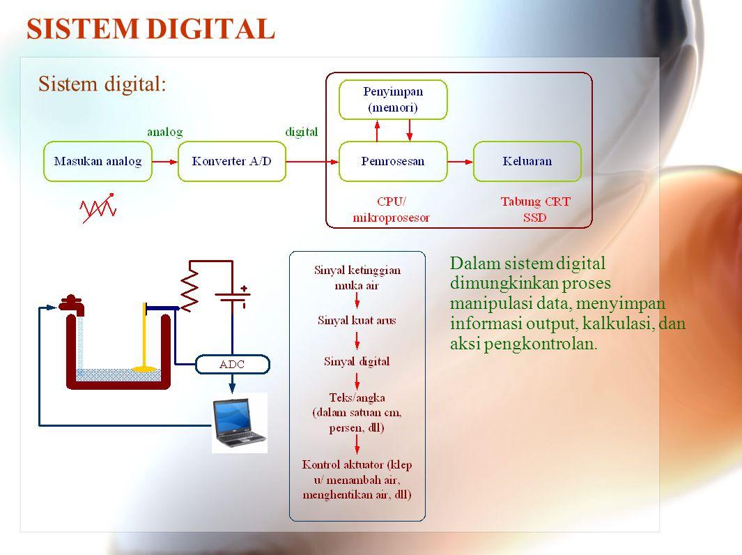 SISTEM DIGITAL Sistem digital: Dalam sistem digital dimungkinkan proses manipulasi data, menyimpan informasi output, kalkulasi, dan aksi pengkontrolan.