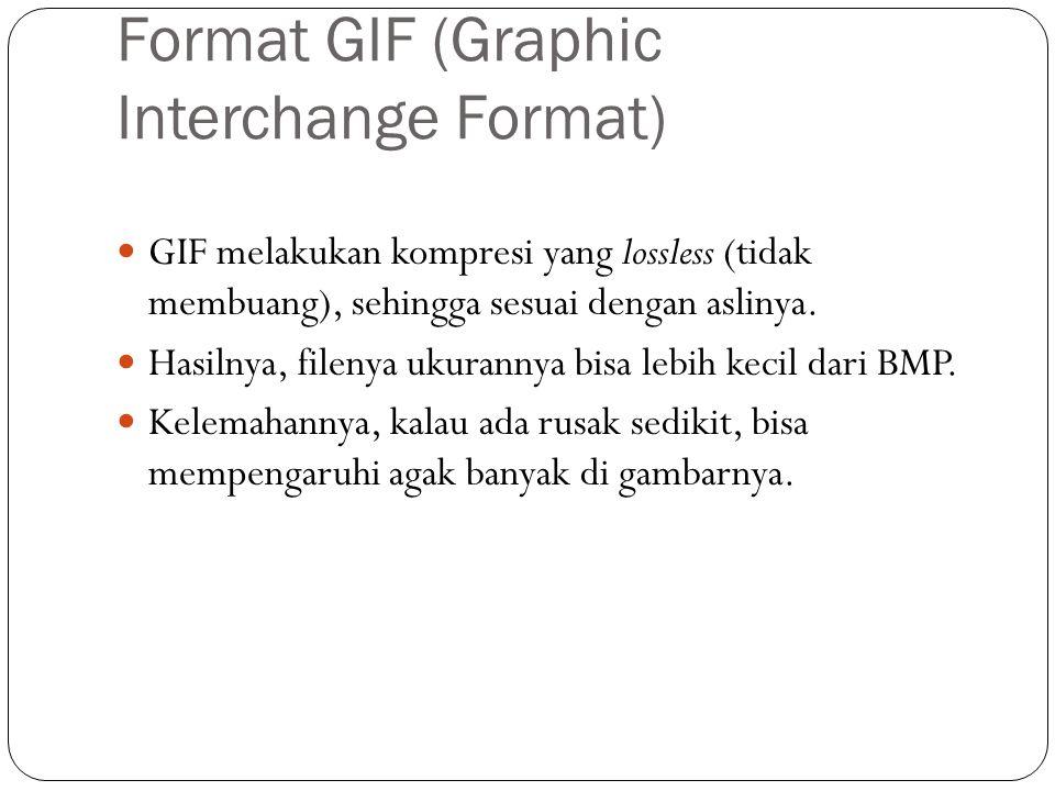 Format GIF (Graphic Interchange Format) GIF melakukan kompresi yang lossless (tidak membuang), sehingga sesuai dengan aslinya.