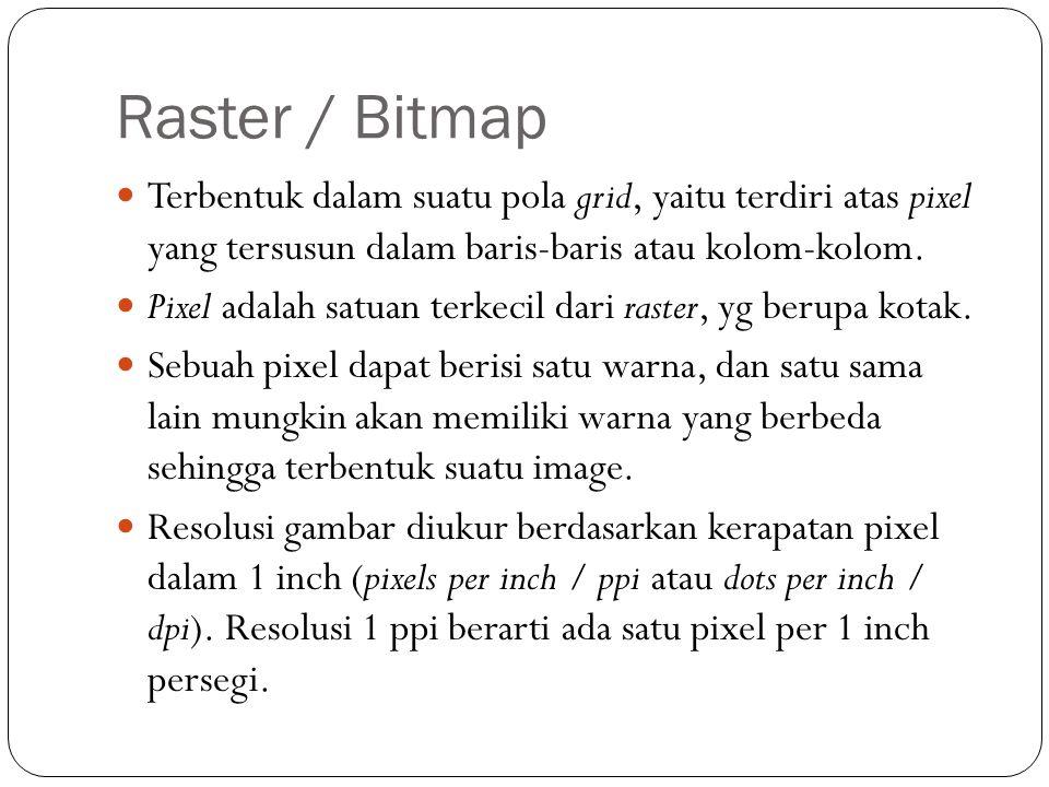 Raster / Bitmap Terbentuk dalam suatu pola grid, yaitu terdiri atas pixel yang tersusun dalam baris-baris atau kolom-kolom.